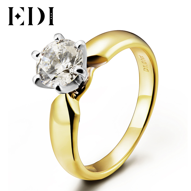 EDI Luxury 1ct Round Cut Moissanite Diamond Solitaire Wedding Ring For Women 14k 585 Yellow Gold Custom Jewelry Trend Gift