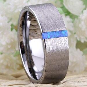 Image 2 - Classic Trouwringen Voor Mannen Vrouwen Fashion Engagement Ring Geborsteld Met Opal Stone Anniversary Party Ring Bruids Sieraden