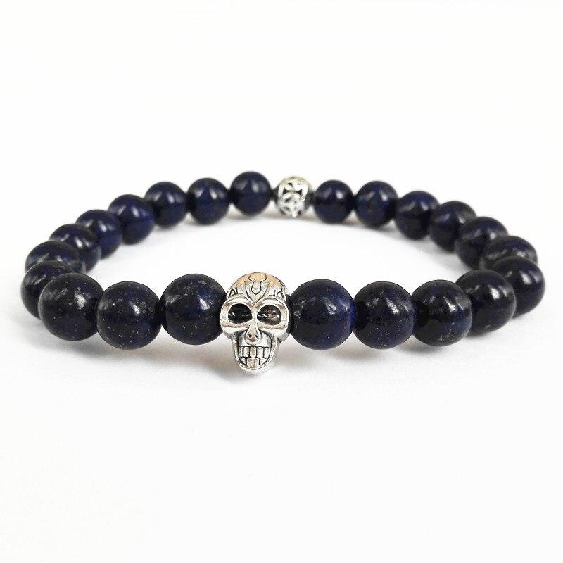 Retail Mens Beaded 2017 New Design Top Quality Lapis Lazuli Beads Skull Bracelets Semi Precious stone Jewerly
