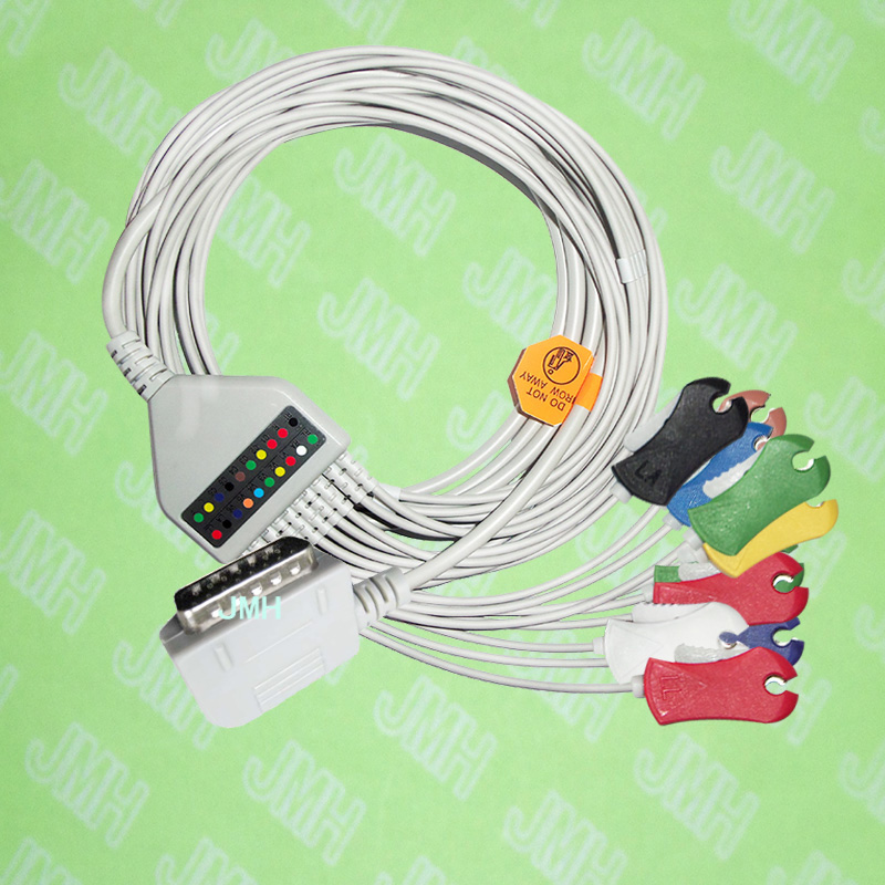 Compatible with 15 PIN Kanz PC109, 108,110,1203, 1205 EKG Machine the One-piece 10 leads cable and Clip leadwires,IEC or AHA.