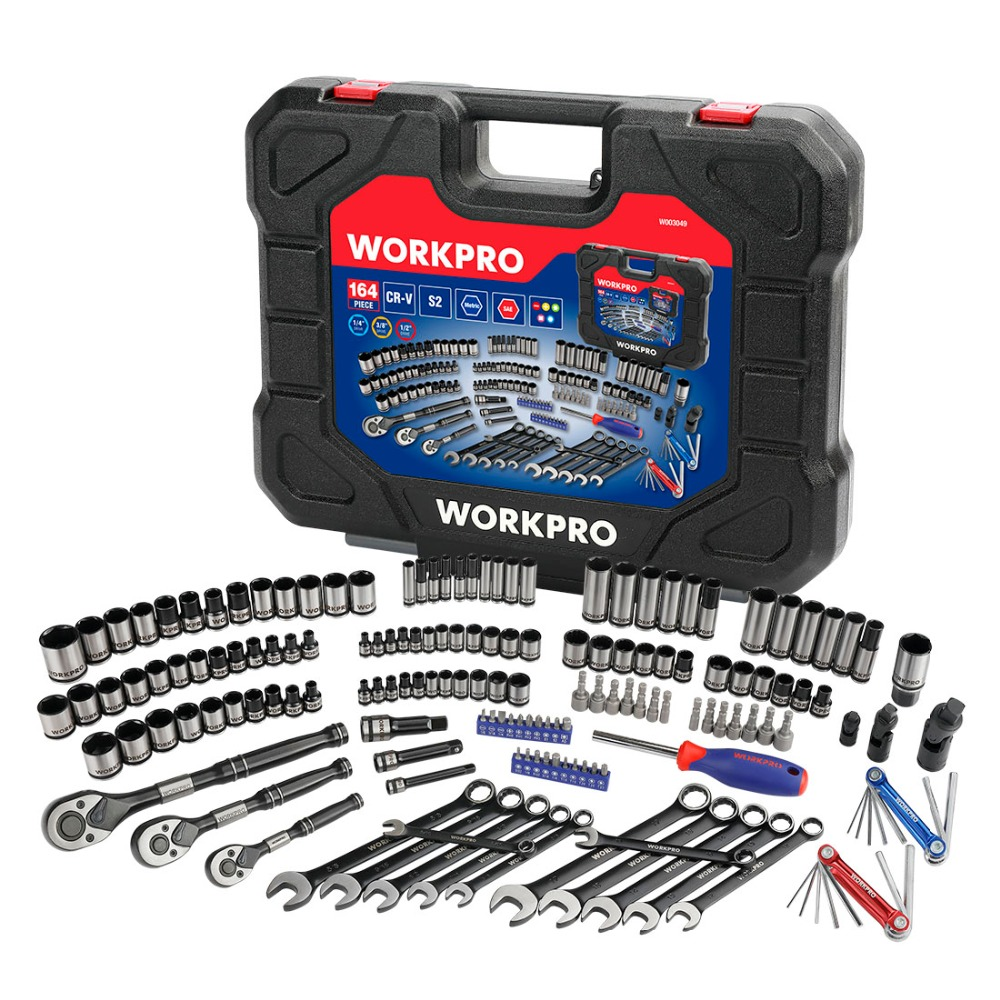 WORKPRO 164PC Tool Set Socket Wrench Set Hand Tools for Car Repair Set of Tool Instruments Sockets Set Ratchet Wrenches Spanners