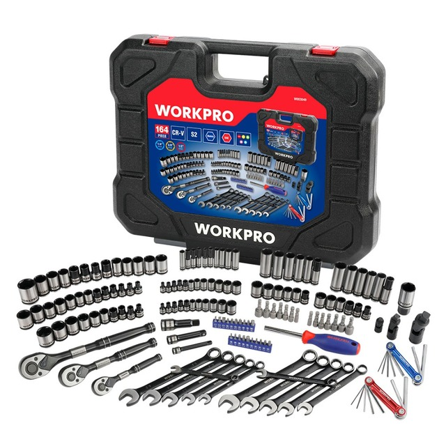 WORKPRO 164PC Tool Set Hand Tools for Car Repair Set of Tools Instruments Mechanic Tools Sockets Set Ratchet Wrenches Spanners 1