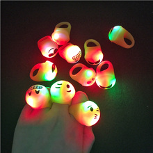 36PCS Hot Fashion Kids Toys Finger accessories Emoji  Glowing Rings Flashing Glow LED Light Up Birthday Party Supplies Decor