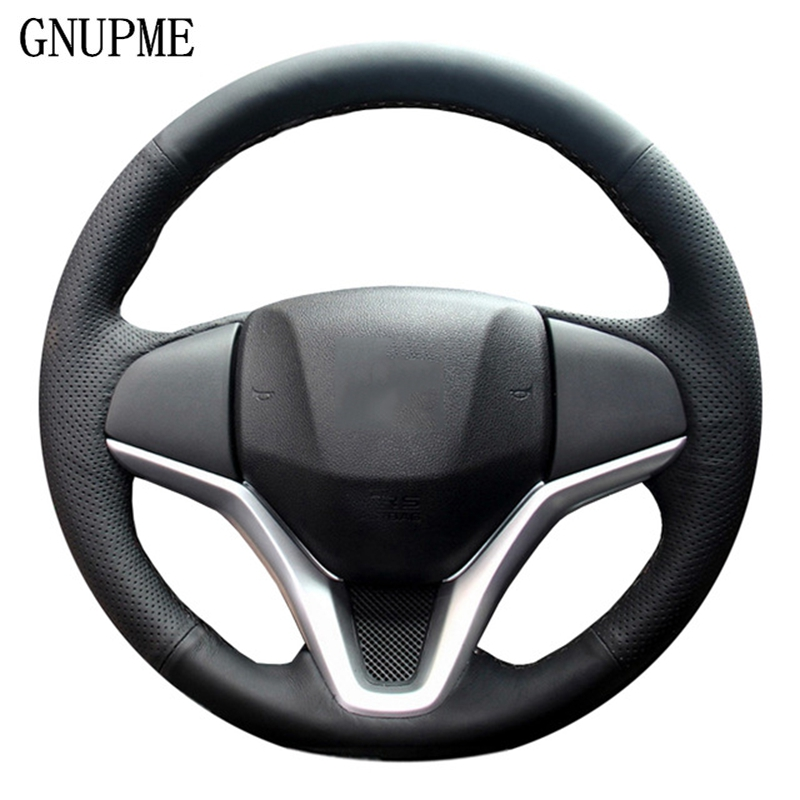 GNUPME DIY Artificial Leather Hand-Stitched Black Car Steering Wheel Cover for <font><b>Honda</b></font> New <font><b>Fit</b></font> City Jazz 2014 <font><b>2015</b></font> HRV <font><b>2016</b></font> image
