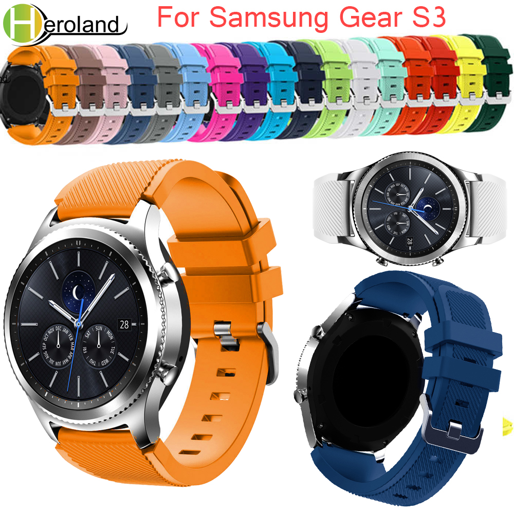 Gear S3 Frontier/Classic Watch Band 22mm Silicone Sport Replacement Watch Men women's Bracelet watches Strap for Samsung Gear S3 joyozy silicone watchband for samsung gear s3 classic frontier 22mm silica gel watch band s 3 sport strap replacement bracelet