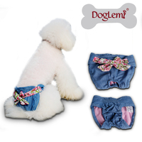 10pcs/pack mixed size and designed Doglemi Female Pet Dog Puppy Sanitary Cute Demin Pant Short Panty Diaper Underwear