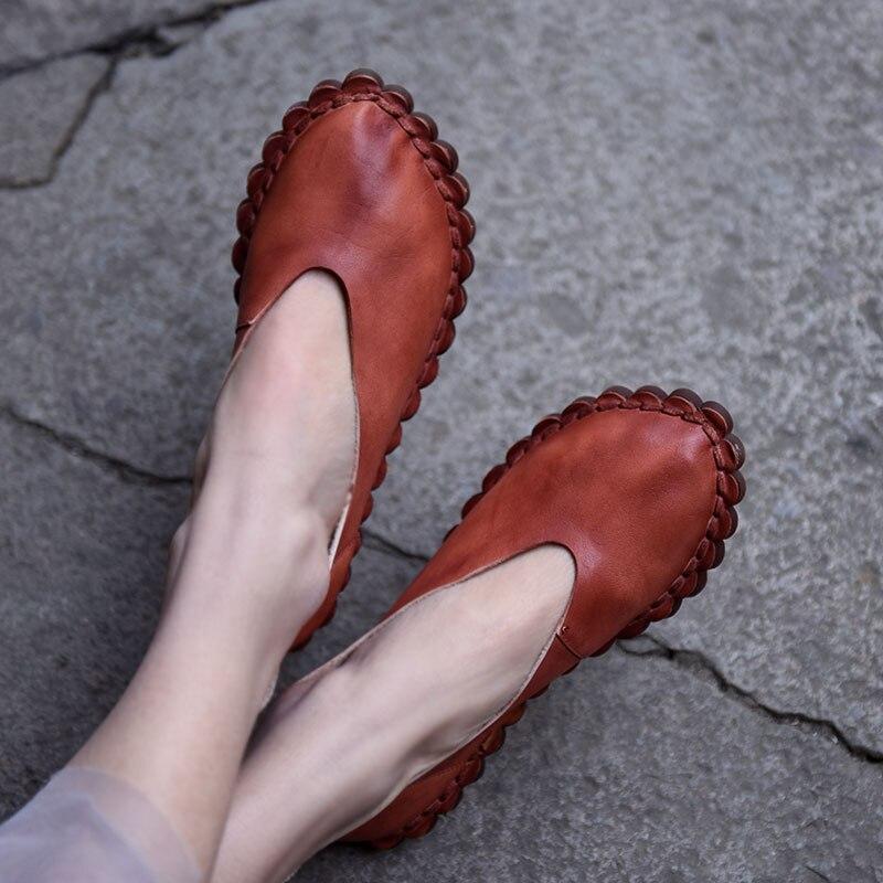 Artmu oryginalny 2019 wiosna nowych kobiet buty płytkie usta płaskie podeszwa prawdziwej skóry miękkie podeszwy Retro ręcznie mieszkania 1806  19 w Damskie buty typu flats od Buty na  Grupa 1