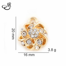Fashion DIY Jewelry Gold Alloy Crystal Flower Charm Pendant Fit Bracelet DIY Dangle Charms Women Gifts 50pcs/lot FA518