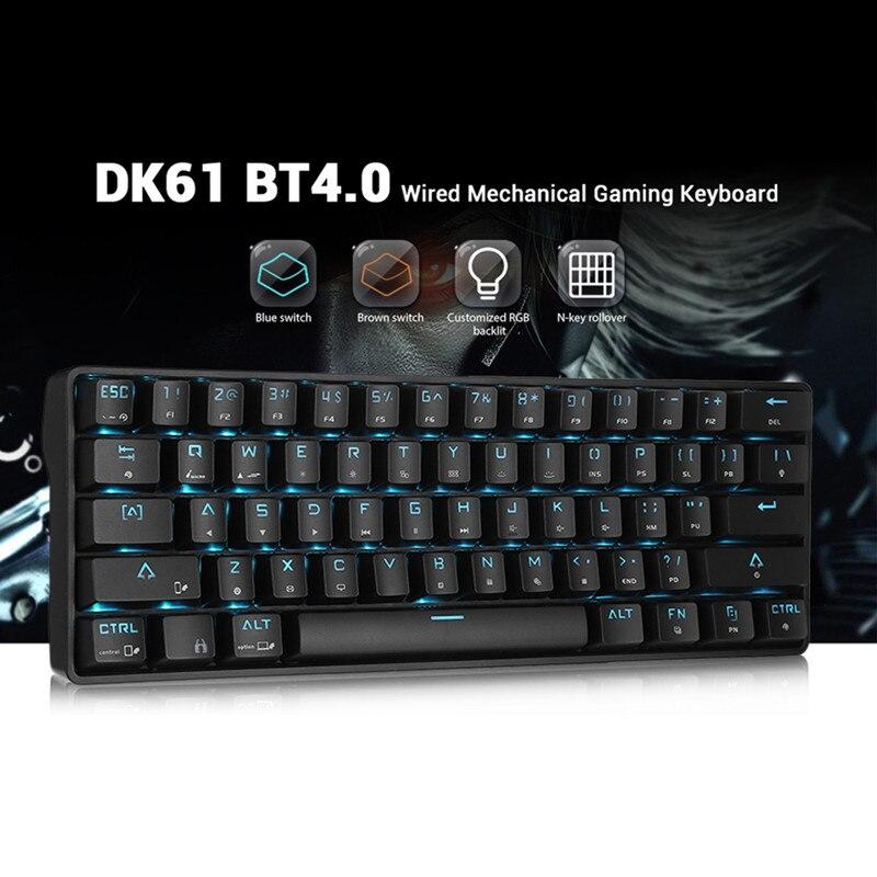 DK61 claviers Bluetooth sans fil interrupteur bleu 61 touches clavier Rechargeable rétro-éclairage rvb pour bureau de jeu à domicile