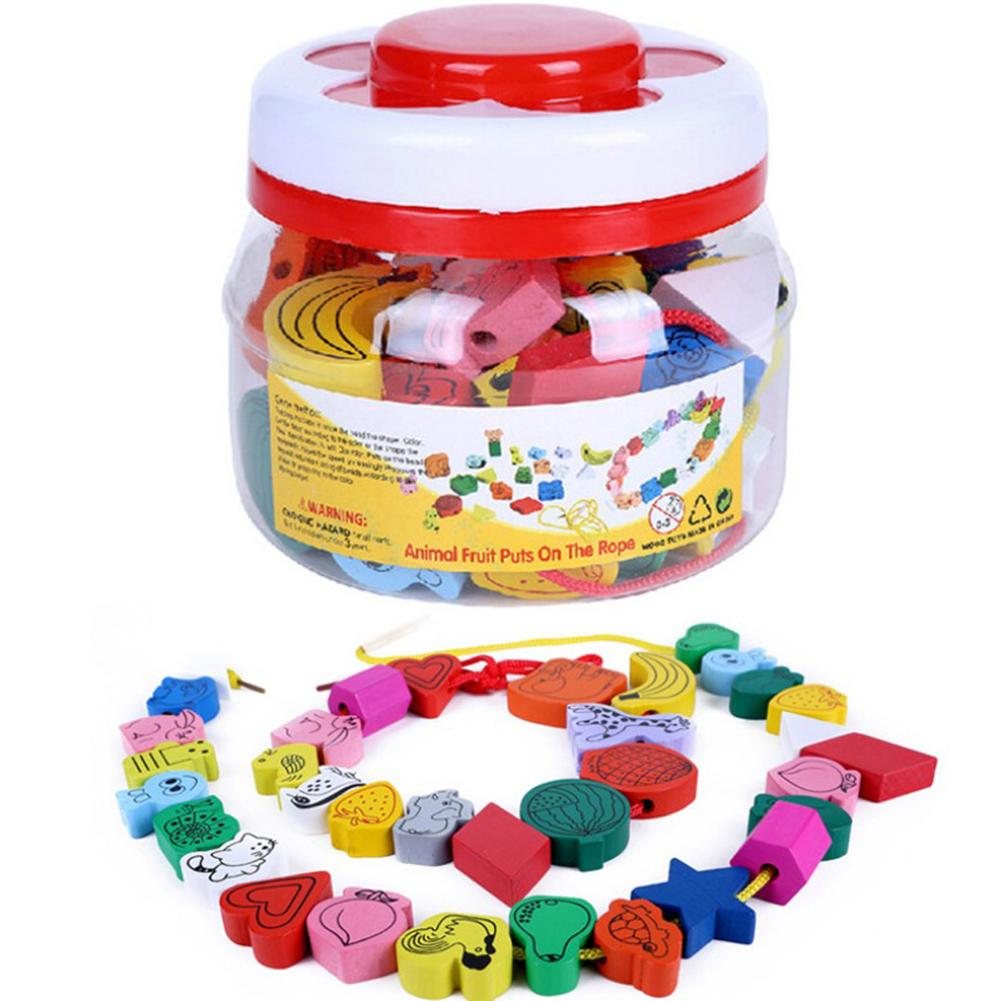 45 Large Children Wearing Beads Beaded Toys Baby Animal Fruit Cognitive Educational Toys Creative Handmade Toys