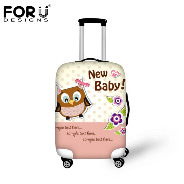 FORUDESIGNS New 18-30inch Cute Animal Owl Travel Suitcase Luggage Protective Cover With Storage Bag Waterproof Baggage Covers