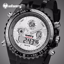 INFANTRY Mens Sports Watches LED Digital Display Relogio Masculino Silicone Strap Waterproof Wristwatches Luminous Alarm Clocks