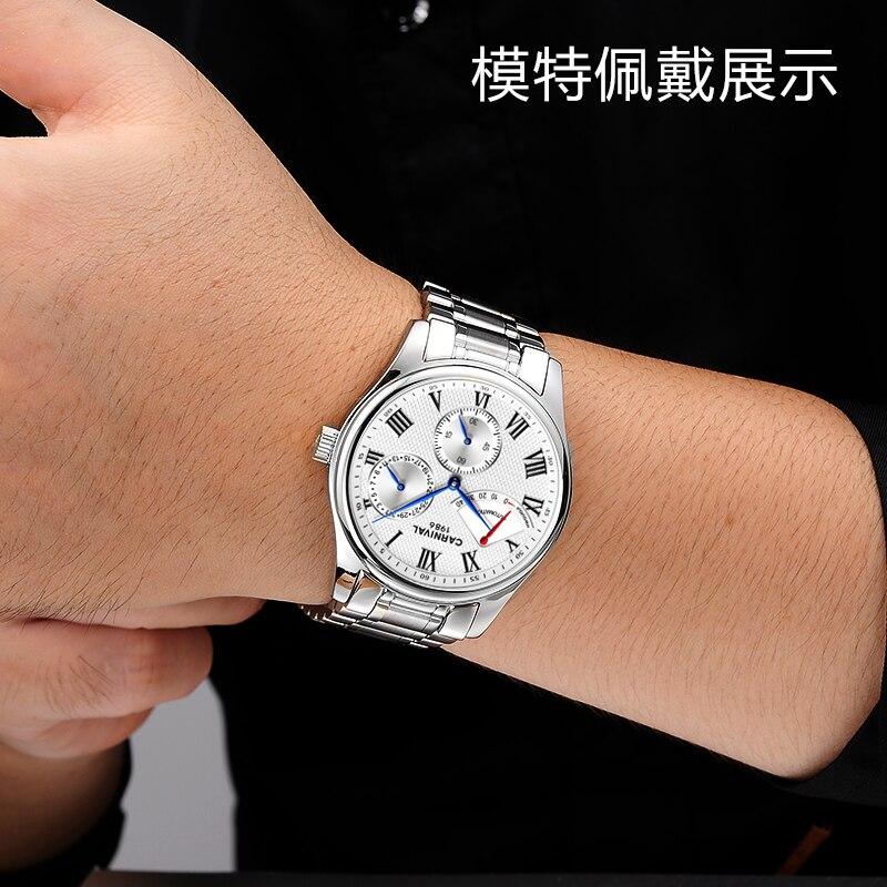 Karneval Männer Automatische Uhr Energie Display Kurze Kleine Sekunden Zifferblatt Datum Luxus Mechanische Uhr - 4