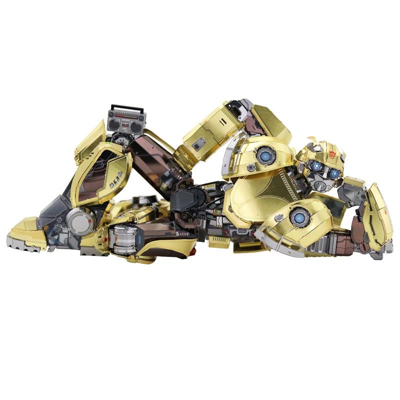 MU Bumblebee T6 DIY 3D Metal Puzzle Assemble Model Kits Laser Cut Jigsaw Toys YM-L066 ds381b wooden 3d army puzzle toy model anti air vehicles diy assemble toys boys free shipping usa brazil