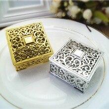 Золотые серебряные квадратные полые пластиковые подарочные коробки для вечеринок BY170906