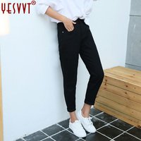 yesvvt New 2017 Spring One Piece Casual Women Jeans High Waist black Retro Jeans Denim Pants For Winter