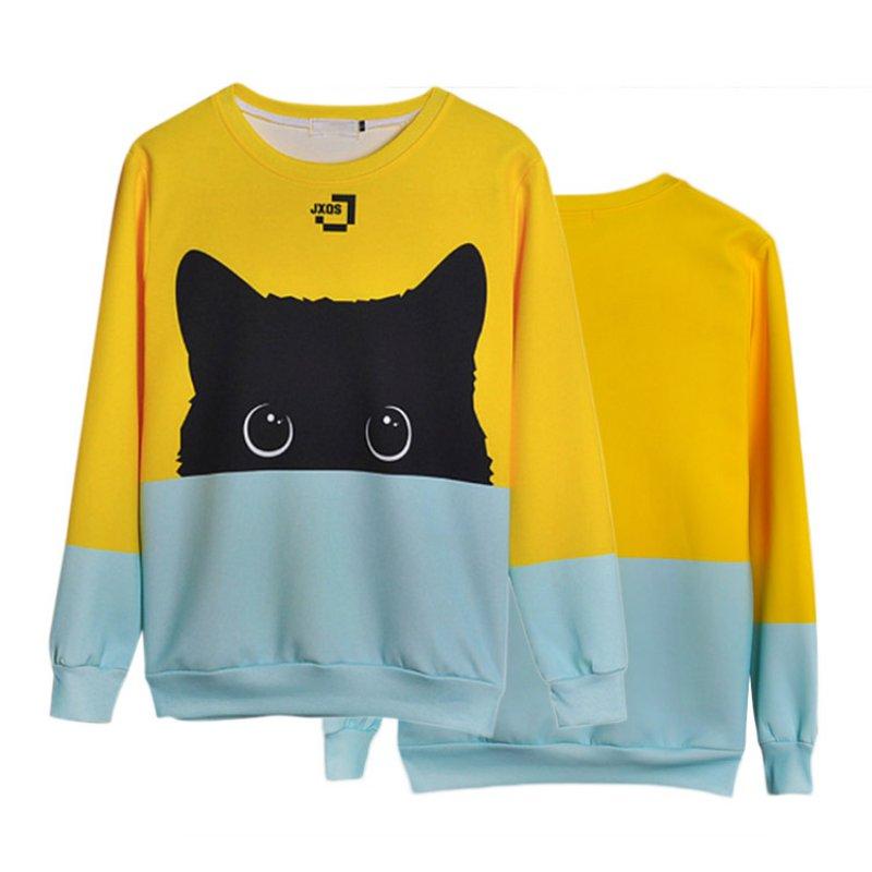 18 Autumn Winter Pullovers Funny Brand Clothin Cute Black Cat Sweatshirt Women Long Sleeve Animal Hoody 13