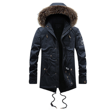 Fashion Winter Jacket Men High Quality Cotton Long Trench Coat Fur Collar Casual Outwear Velvet Windbreaker Thick Warm Parka Men