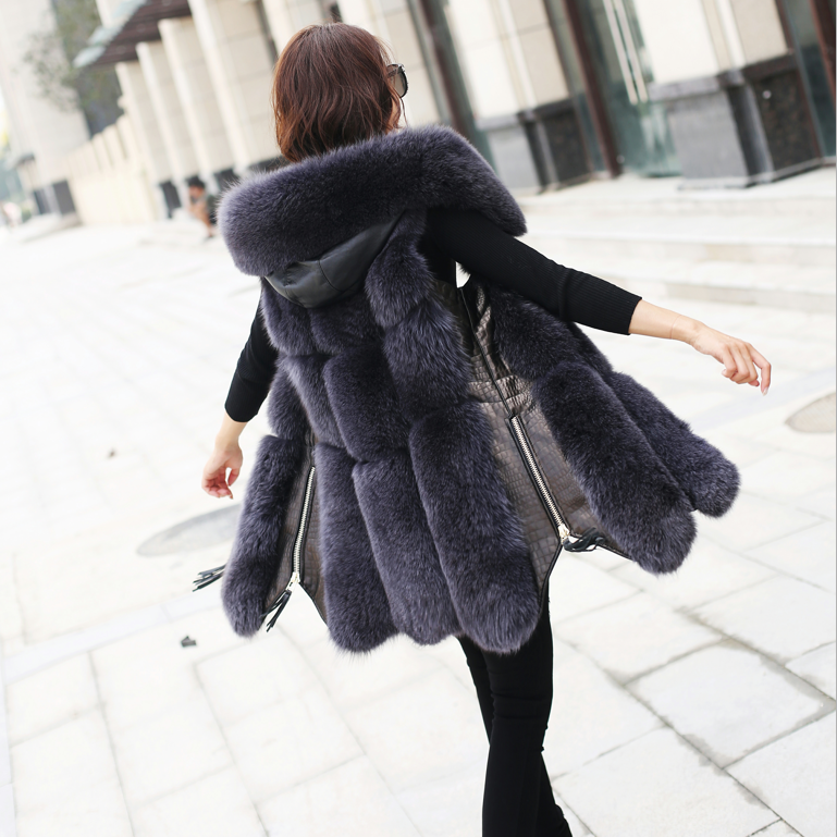 2018 Autumn Winter New Women Leather Patch Fur Vest Coat Ladies Korean Imitation Fox Fur Long Vests Warm Coats Overcoat