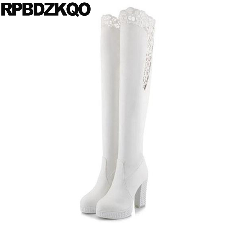 Chunky Shoes Fetish 10 Size 43 Over The Knee Cheap Big White Dance Thigh High Boots For Plus Women Platform Waterproof Lace Heel
