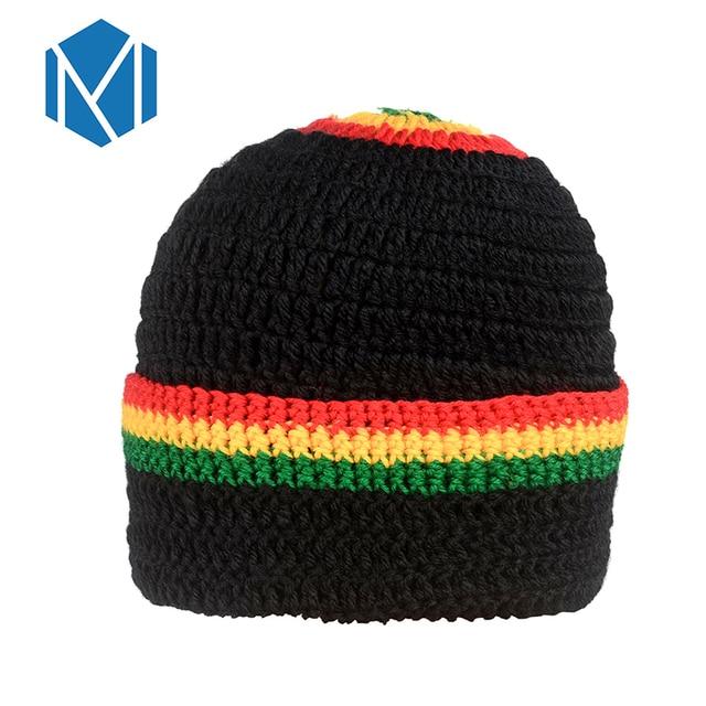 3ba8b38db2b54 C 2018 New Womens Men Novelty Ranbow Striped Knitted Hat Female Male Cap  Jamaica Bob Marley