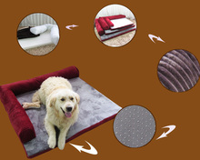 COXEER Set with 4 pcs Detachable Cat Dog Foam Bed Sofa Fits for Within 30kg Pets(Maroon, L)