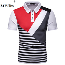 ZYFG free men polo contrast color splice casual short-sleeved shirt youth fashion male clothing