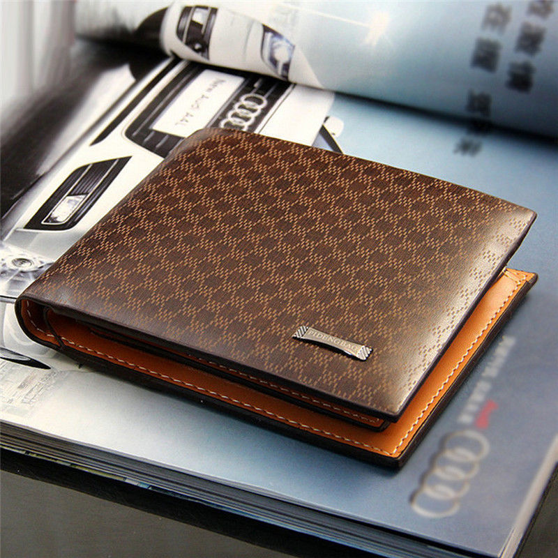Hot Sale Short Bifold Plaid Wallet Men s PU Leather Brown Credit ID Card Holder Slim