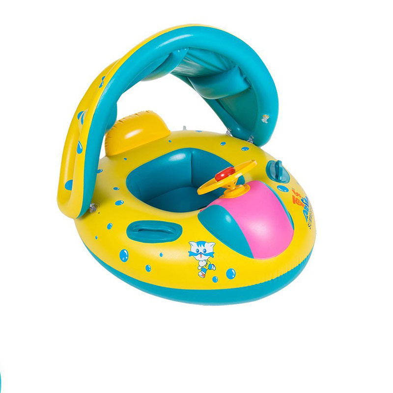 Baby Swimming Ring with Sun Canopy Toddler Inflatable Pool Float Bath Toys Swim Beach Mattress Accessories Kids Children Circle