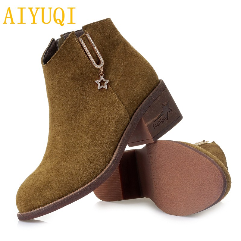 e512a934b467 AIYUQI Ladies short winter boots 2019 new genuine leather Suede women  martin boots