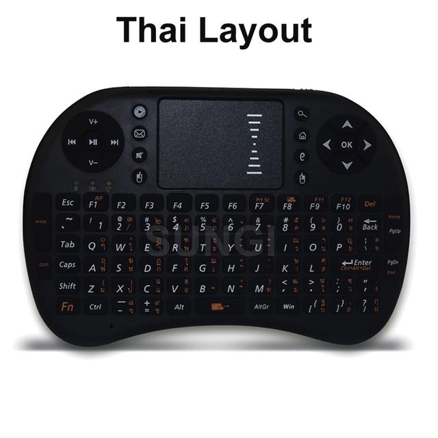 Versión tailandesa Idioma Mini Teclado Inalámbrico de 2.4 GHz Air Mouse Touchpad de Control Remoto Para Android TV Box Tablet PC
