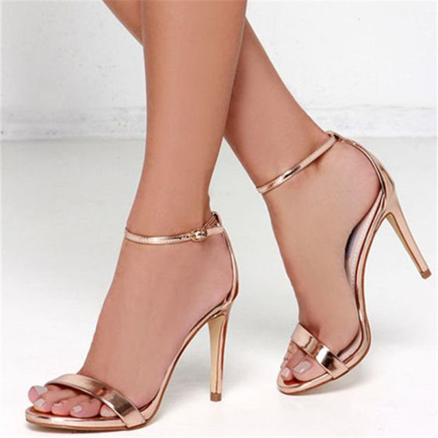 fd167e8f3a1 Gold Ankle Strap Heels Stilettos Open Toe Gladiator Sandals Women Pumps  Genuine Leather Summer Shoes Woman Sexy Party Dress Shoe