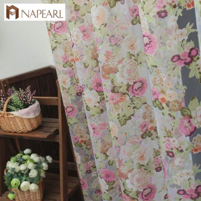 NAPEARL Floral design lavabile tulle tessuti per tende bella sheer finestra  pannello di stile country Americano per balcone o in cucina