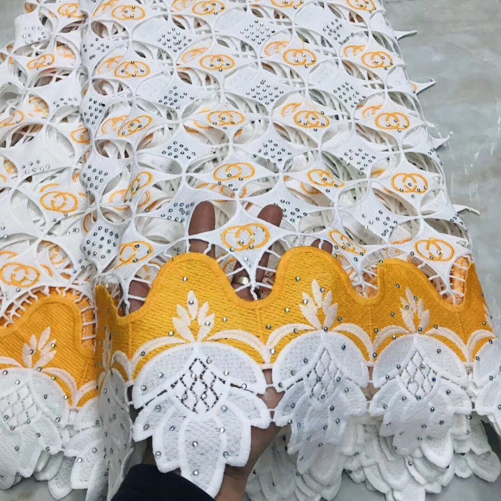 Latest African Hand cut Swiss Voile Lace Fabric High Quality Double Organza Lace In Switzerland With