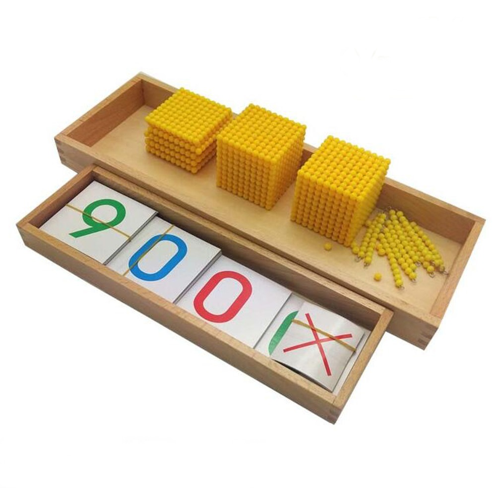 ФОТО Montessori Math Material Bank Game & Introduction to Decimal Quantity with Tray Golden Beads Kids Educational Wooden Toy