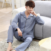 Pajamas Spring And Autumn Knitted 100 Male Cotton Casual Plus Size Sleep Set Cardigan Home Wear
