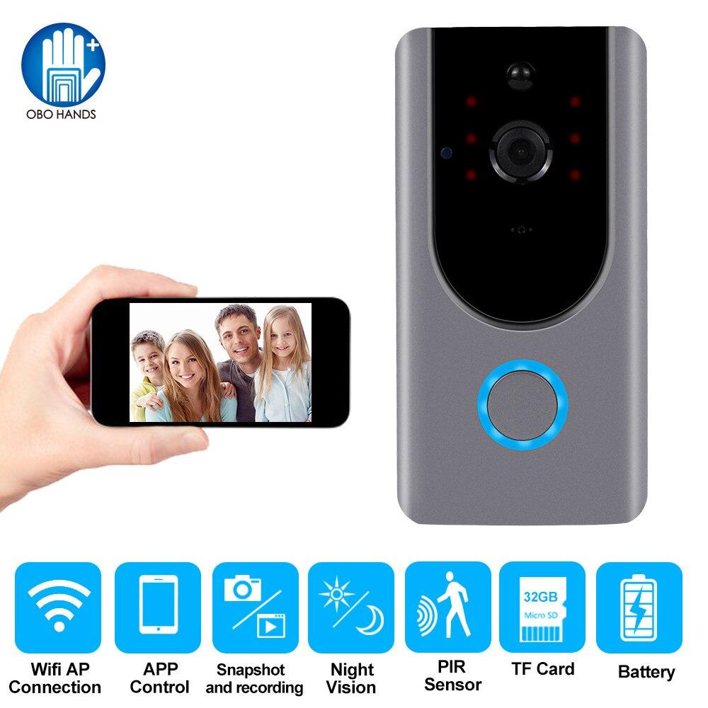 Sonnette vidéo sans fil Smart WiFi interphone vidéo porte cloche caméra interphone Vision nocturne enregistrement visuel surveillance pour la maison