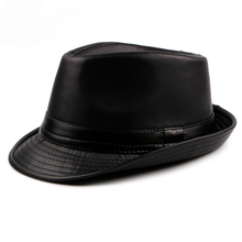 HT1512 Autumn Spring Men Hats 2018 Fashion Black Brown Leather Trilby Plain Solid Derby Retro Classic Jazz Fedora