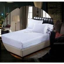 Качественный белый хлопок Отель домашний атласный в полоску Твин/Полный/queen/King размер простыня наволочки Shams постельное покрывало сплошной цвет