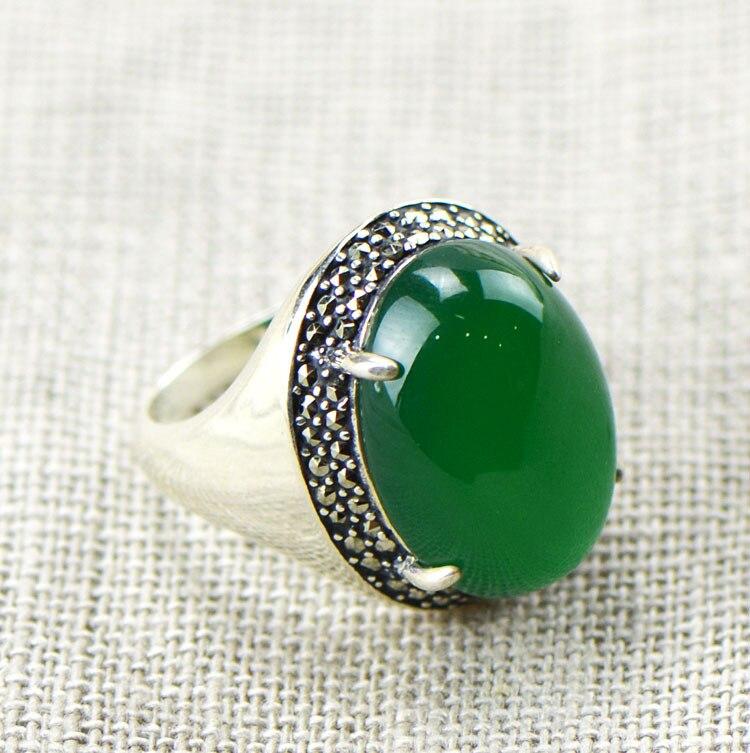 Nishiko Taeyi bijoux en gros 925 en argent Sterling naturel glace cristal clair complet vert calcédoine taille de bague femme