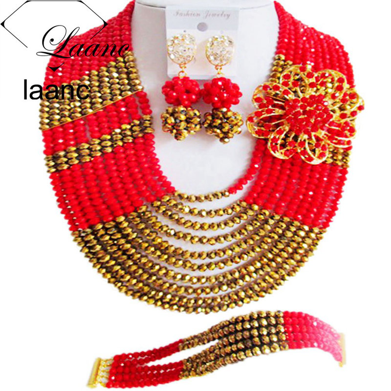 Laanc 10 Rows 18inches Golden and Red African Jewelry Set Nigerian Beads Wedding Accessories for Brides AL619Laanc 10 Rows 18inches Golden and Red African Jewelry Set Nigerian Beads Wedding Accessories for Brides AL619