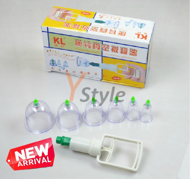 KangLing Brand Chinese Cupping Set 6 Cups in Different Sizes Free Shipping Vacuum Cupping Device with Hand Hold Air Gun