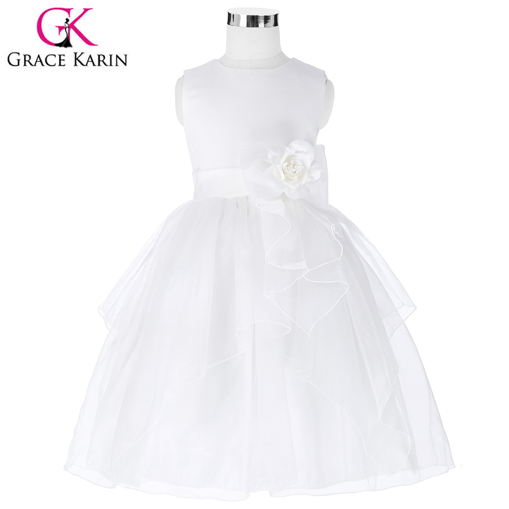 Grace Karin Ivory Flower Girl Dresses Real Image Kids Evening Gowns