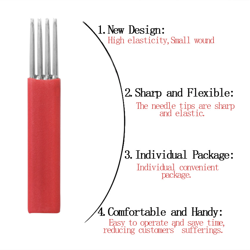 Needles for Microblasting 12 pin 4 Rows <font><b>R3</b></font> Round Needles Eyebrow Lips Red 50pcs Microblading Tebori Blades Accessories <font><b>Tool</b></font> image