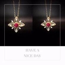 ANI 18K Rose Gold Pendant Necklace Ruby Fine Color Gemstone Jewelry Natural Diamond Snow Shape Fashion Women Engagement Necklace