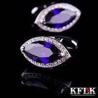KFLK Lüks gömlek kol düğmesi mens Marka manşet düğmeleri için Mor Kristal kol düğmeleri Yüksek Kalite düğün abotoaduras Takı