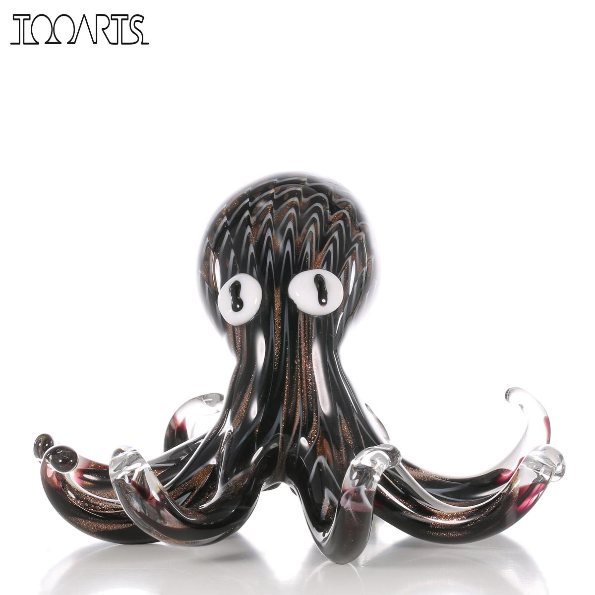 Tooarts Black Gold Art Octopus Gift Glass Ornament Animal Figurine Modern Home Decoration Accessory Handblown Home