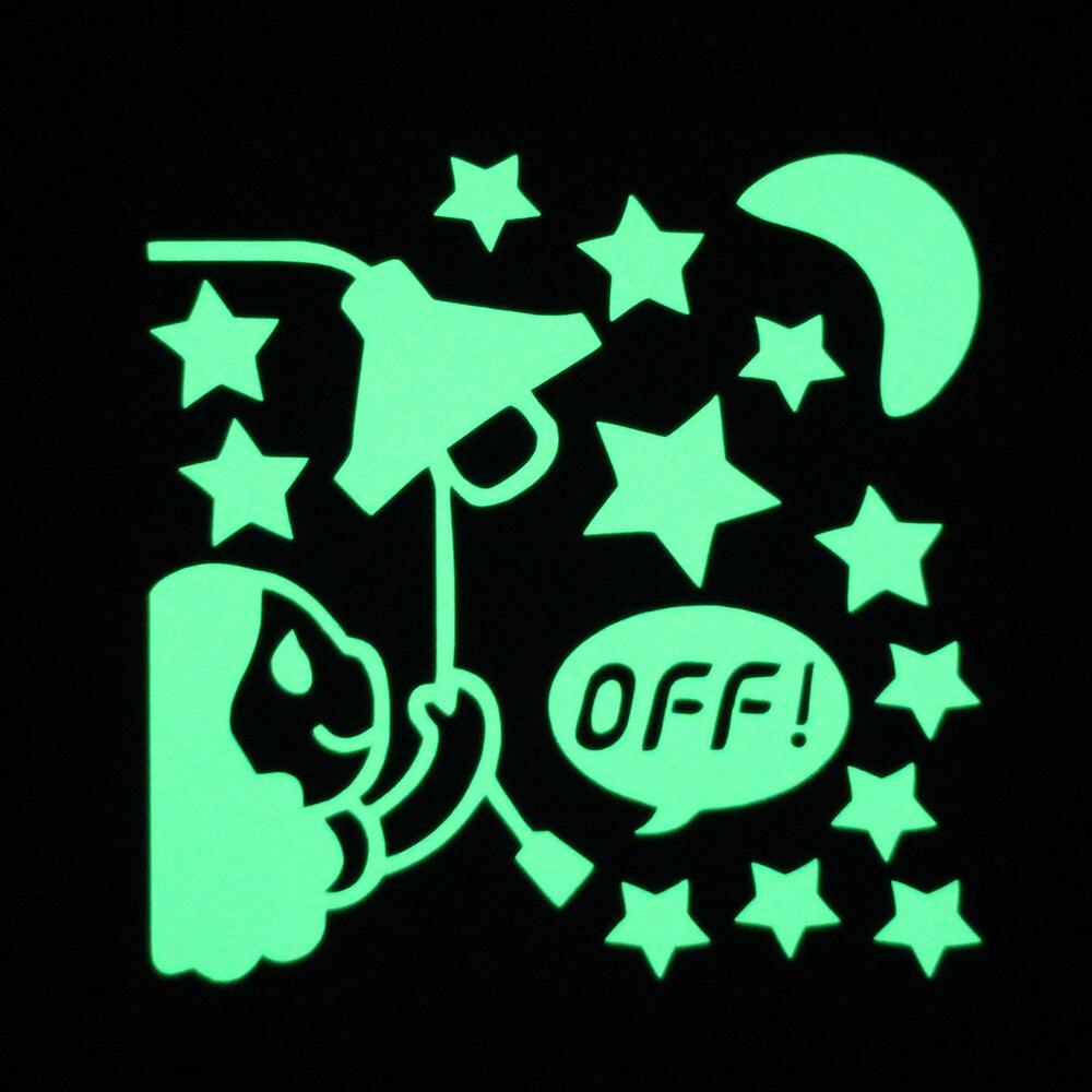 Lovely Girl Turn Off the Lights Luminous Switch Sticker Glow in the Dark Cartoon Moon Stars Wall Sticker Kids Room DIY Decor