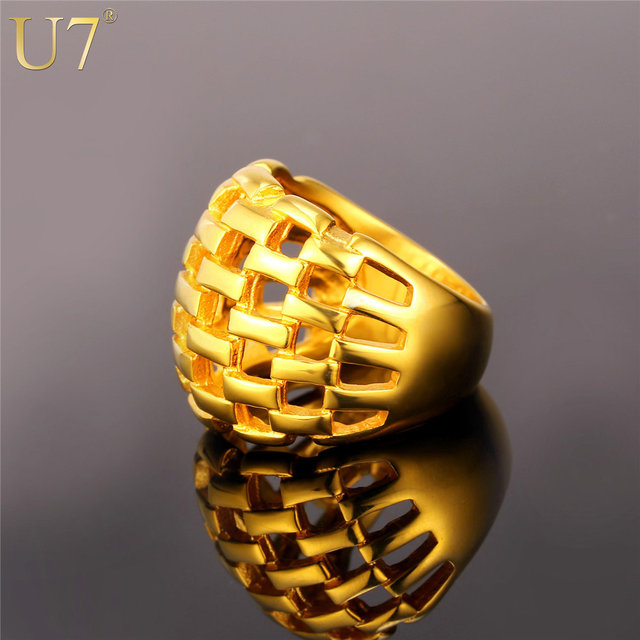 line Shop U7 Big Ring Men Jewelry Wholesale Gold Color 21MM Wide