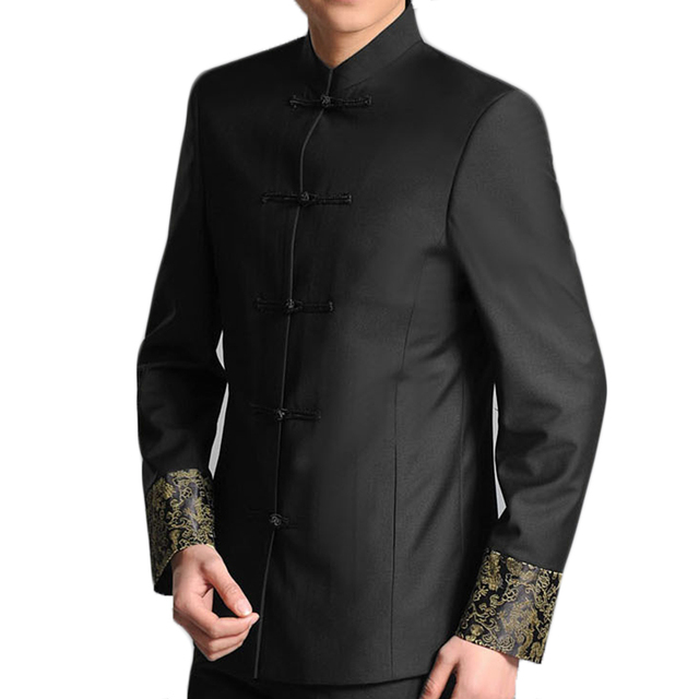 Traditional Chinese Men Tunic Suit Jacket Frog Closure Dragon Embroidery At Cuffs Stand Collar Mens Black Tunic Jacket